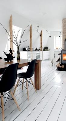 Puitmaterjal, liimpuitkilp, täispuitpõrand, hööveldatud laud - materjalid skandinaavia stiilis kodus34