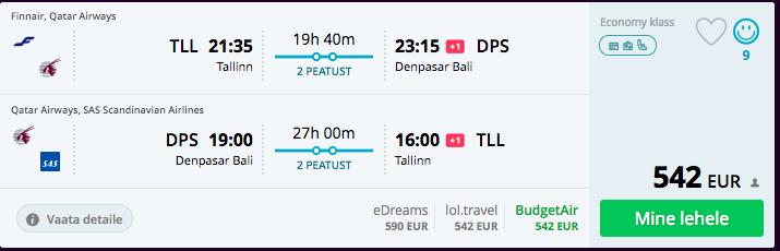 Tallinn Bali soodsad lennupiletid jaanuaris