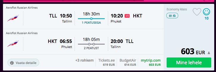 Novembris Taisse Phuketile Aeroflotiga