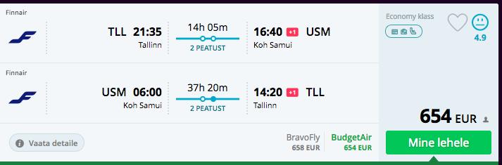 Tallinn-Bangkok-Samui soodsad lennupiletid novembris