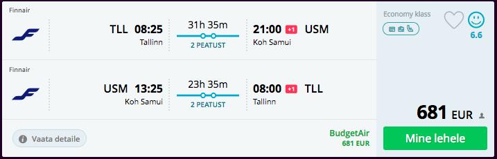 soodsad lennupiletid taisse koh samuile martsis Finnairiga